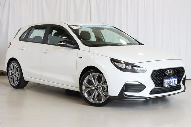 Used Hyundai i30 PD.V4 MY21 N Line D-CT Wangara, 2020 Hyundai i30 PD.V4 MY21 N Line D-CT White 7 Speed Sports Automatic Dual Clutch Hatchback