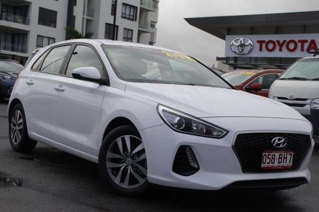 Pre-Owned Hyundai i30 PD2 MY18 Active Upper Mount Gravatt, 2018 Hyundai i30 PD2 MY18 Active Polar White 6 Speed Sports Automatic Hatchback