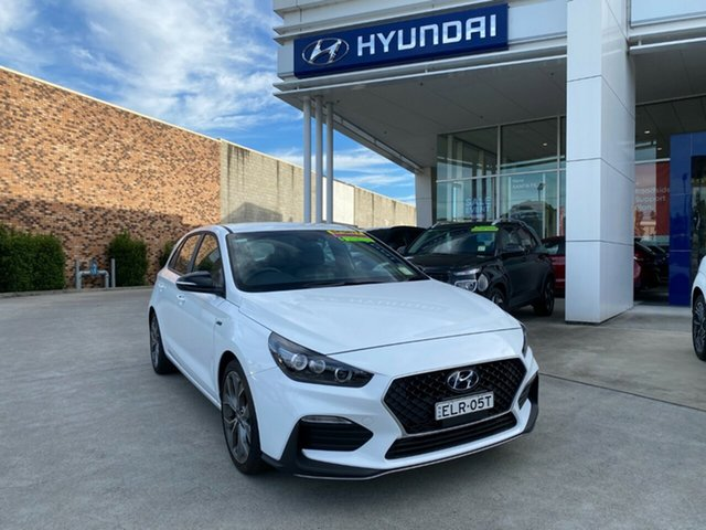 Demo Hyundai i30 PD.V4 MY21 N Line D-CT Cardiff, 2020 Hyundai i30 PD.V4 MY21 N Line D-CT Polar White 7 Speed Sports Automatic Dual Clutch Hatchback