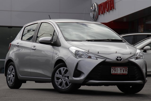 Pre-Owned Toyota Yaris NCP130R Ascent Woolloongabba, 2019 Toyota Yaris NCP130R Ascent Silver Pearl 4 Speed Automatic Hatchback