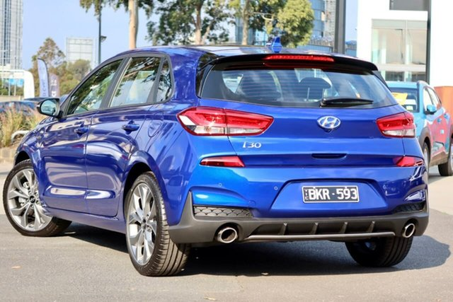 Demo Hyundai i30 PD.V4 MY21 N Line South Melbourne, 2020 Hyundai i30 PD.V4 MY21 N Line Intense Blue 7 Speed Auto Dual Clutch Hatchback