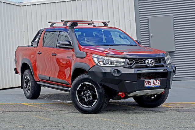 Used Toyota Hilux GUN126R Rugged X Double Cab Springwood, 2018 Toyota Hilux GUN126R Rugged X Double Cab Orange 6 Speed Sports Automatic Utility