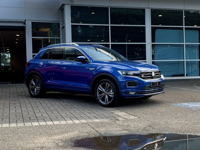 Demo Volkswagen T-ROC A1 MY21 140TSI DSG 4MOTION Sport Botany, 2021 Volkswagen T-ROC A1 MY21 140TSI DSG 4MOTION Sport Blue 7 Speed Sports Automatic Dual Clutch