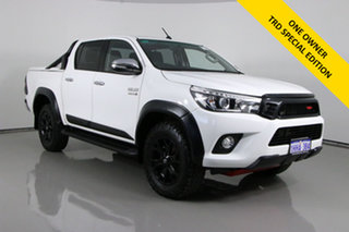 2017 Toyota Hilux GUN126R SR5 (4x4) White 6 Speed Manual Dual Cab Utility.