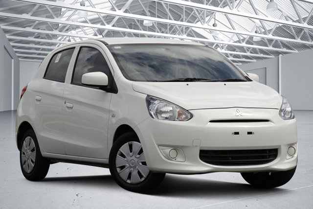 Used Mitsubishi Mirage LA ES Eagle Farm, 2014 Mitsubishi Mirage LA ES White Continuous Variable Hatchback