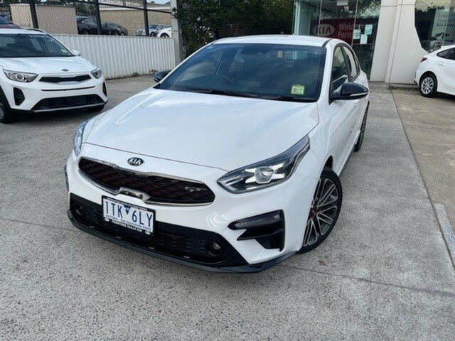 Demo Kia Cerato BD MY21 GT DCT Ferntree Gully, 2021 Kia Cerato BD MY21 GT DCT Clear White 7 Speed Sports Automatic Dual Clutch Sedan