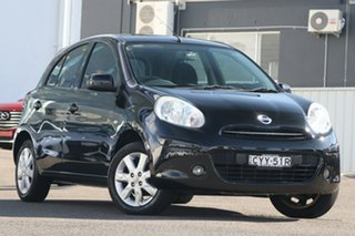 2014 Nissan Micra K13 MY13 ST-L Black 5 Speed Manual Hatchback.