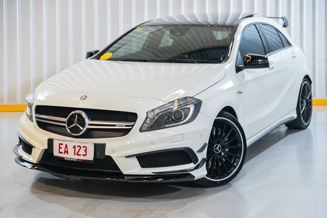Used Mercedes-Benz A-Class W176 805+055MY A45 AMG SPEEDSHIFT DCT 4MATIC Hendra, 2014 Mercedes-Benz A-Class W176 805+055MY A45 AMG SPEEDSHIFT DCT 4MATIC White 7 Speed