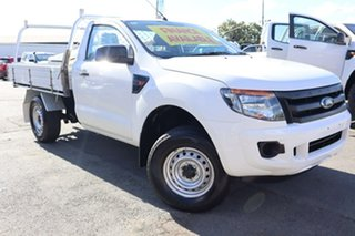 2013 Ford Ranger PX XL Hi-Rider White 6 Speed Manual Cab Chassis.