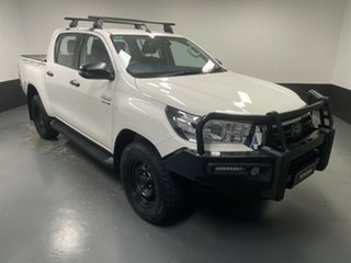 2019 Toyota Hilux GUN126R SR Double Cab White 6 Speed Sports Automatic Cab Chassis.
