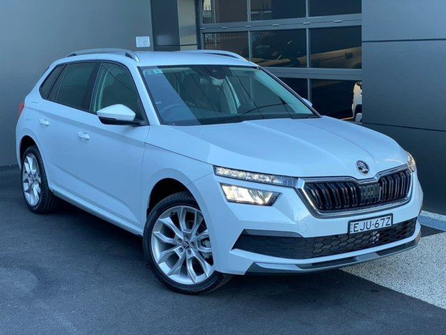 Demo Skoda Kamiq NW MY20.5 85TSI DSG FWD Hobart, 2020 Skoda Kamiq NW MY20.5 85TSI DSG FWD White 7 Speed Sports Automatic Dual Clutch Wagon