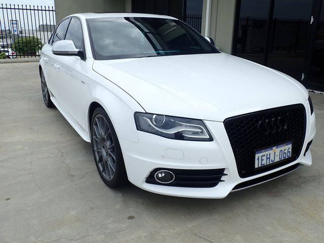 Used Audi S4 8K 3.0 TFSI Quattro Wangara, 2009 Audi S4 8K 3.0 TFSI Quattro White Satin 7 Speed Auto Direct Shift Sedan