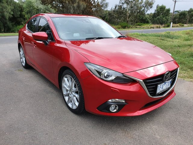 Used Mazda 3 SP25 Astina Geelong, 2015 Mazda 3 BM Series SP25 Astina Red Sports Automatic Sedan