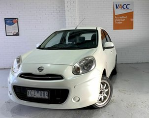 2010 Nissan Micra K13 ST-L White 4 Speed Automatic Hatchback.