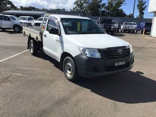 2014 Toyota Hilux TGN16R MY14 Workmate 4x2 White 5 Speed Manual Cab Chassis.