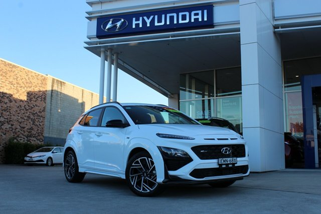 Demo Hyundai Kona Os.v4 MY21 N-Line D-CT AWD Cardiff, 2021 Hyundai Kona Os.v4 MY21 N-Line D-CT AWD Atlas White 7 Speed Sports Automatic Dual Clutch Wagon
