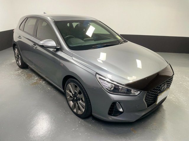 Used Hyundai i30 PD2 MY18 SR D-CT Rutherford, 2018 Hyundai i30 PD2 MY18 SR D-CT Sparkling Metal 7 Speed Sports Automatic Dual Clutch Hatchback