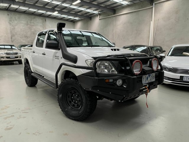 Used Toyota Hilux KUN26R MY12 SR Double Cab Coburg North, 2011 Toyota Hilux KUN26R MY12 SR Double Cab White 5 Speed Manual Utility