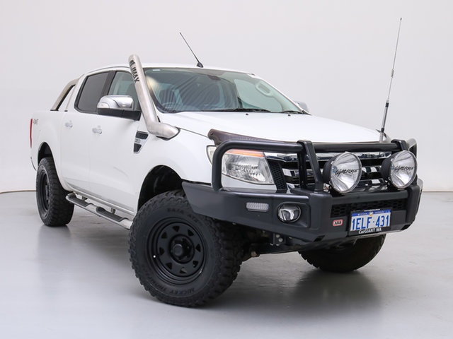 Used Ford Ranger PX XLT 3.2 (4x4), 2013 Ford Ranger PX XLT 3.2 (4x4) White 6 Speed Manual Double Cab Pick Up