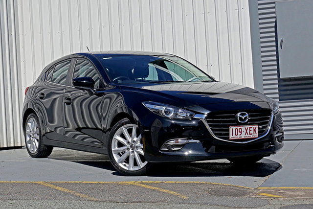 Used Mazda 3 BN5438 SP25 SKYACTIV-Drive Springwood, 2017 Mazda 3 BN5438 SP25 SKYACTIV-Drive Black 6 Speed Sports Automatic Hatchback