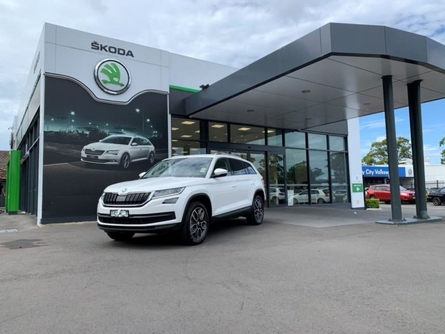 Demo Skoda Kodiaq NS MY20.5 132TSI DSG Botany, 2020 Skoda Kodiaq NS MY20.5 132TSI DSG White 7 Speed Sports Automatic Dual Clutch Wagon