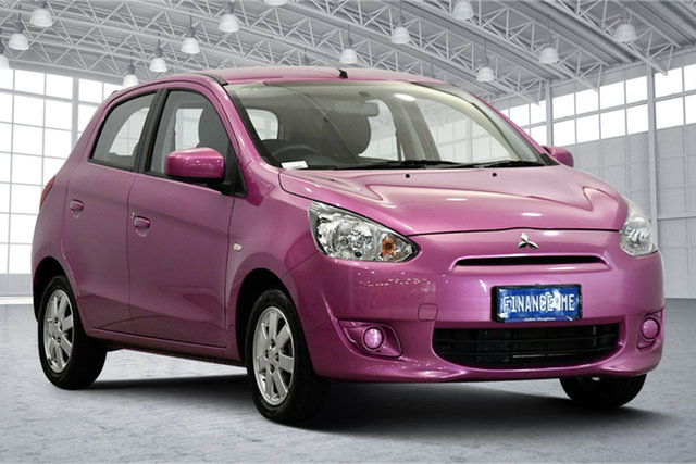 Used Mitsubishi Mirage LA MY14 ES Victoria Park, 2013 Mitsubishi Mirage LA MY14 ES Mauve 5 Speed Manual Hatchback