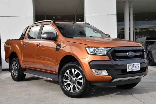 Used Ford Ranger PX MkII 2018.00MY Wildtrak Double Cab Oakleigh, 2018 Ford Ranger PX MkII 2018.00MY Wildtrak Double Cab Orange 6 Speed Sports Automatic Utility