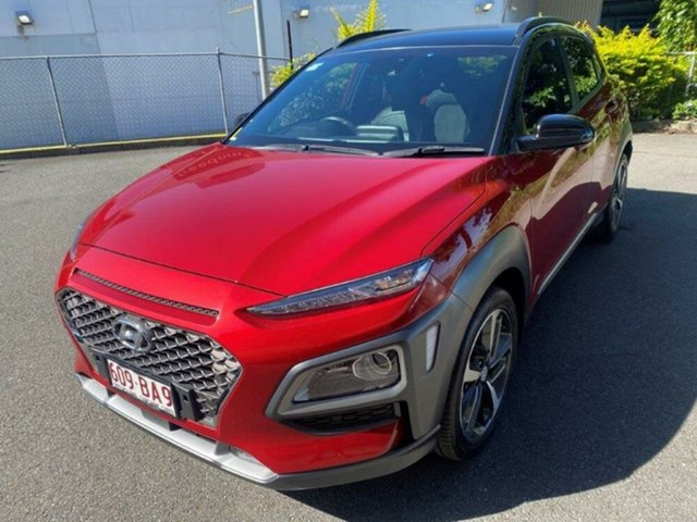 Used Hyundai Kona OS MY18 Highlander 2WD Springwood, 2017 Hyundai Kona OS MY18 Highlander 2WD Red 6 Speed Sports Automatic Wagon