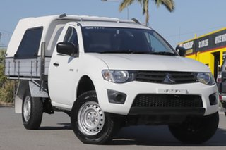 2014 Mitsubishi Triton MN MY15 GL 4x2 White Solid 5 Speed Manual Cab Chassis.