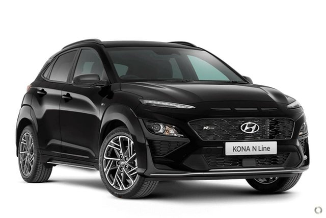 New Hyundai Kona Os.v4 MY21 N-Line D-CT AWD Oakleigh, 2020 Hyundai Kona Os.v4 MY21 N-Line D-CT AWD Black 7 Speed Sports Automatic Dual Clutch Wagon