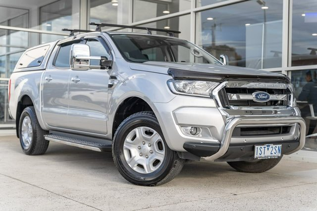 Used Ford Ranger PX MkII 2018.00MY XLT Double Cab Ferntree Gully, 2018 Ford Ranger PX MkII 2018.00MY XLT Double Cab Silver 6 Speed Sports Automatic Utility