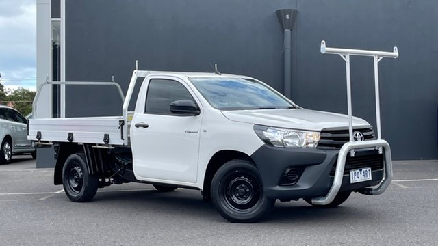 Used Toyota Hilux TGN121R Workmate 4x2 Moorabbin, 2019 Toyota Hilux TGN121R Workmate 4x2 White 6 Speed Sports Automatic Cab Chassis