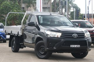 2016 Toyota Hilux TGN121R Workmate Eclipse Black 6 Speed Automatic Cab Chassis.