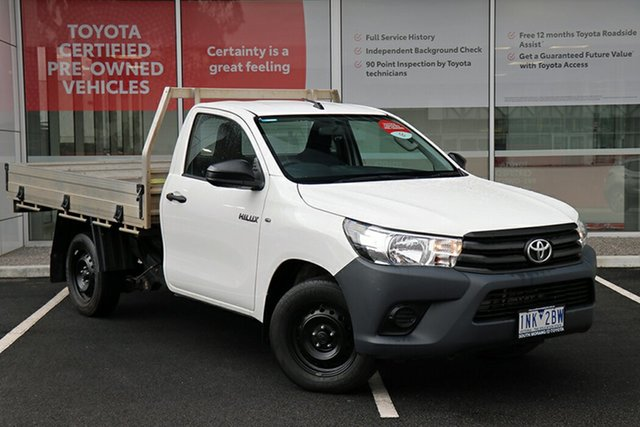 Pre-Owned Toyota Hilux GUN122R Workmate 4x2 South Morang, 2018 Toyota Hilux GUN122R Workmate 4x2 White 5 Speed Manual Cab Chassis