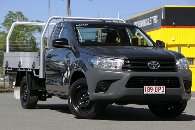 Used Toyota Hilux TGN121R Workmate 4x2 Rocklea, 2018 Toyota Hilux TGN121R Workmate 4x2 Graphite 6 Speed Sports Automatic Cab Chassis