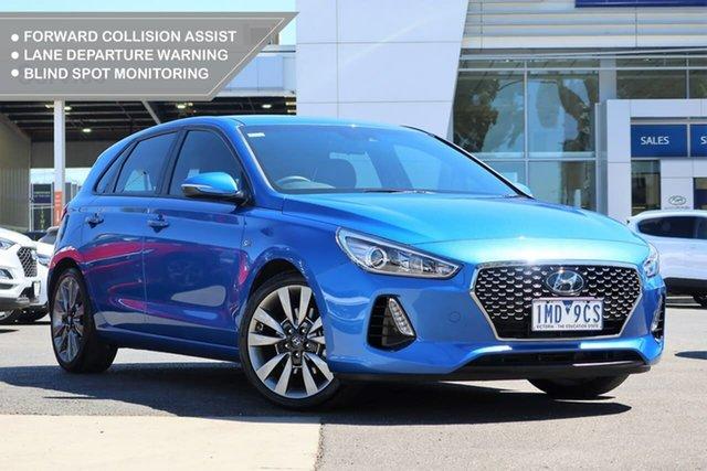 Used Hyundai i30 PD2 MY18 SR D-CT South Melbourne, 2018 Hyundai i30 PD2 MY18 SR D-CT Blue 7 Speed Sports Automatic Dual Clutch Hatchback