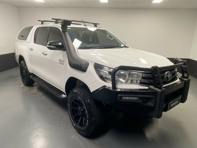 Used Toyota Hilux GUN126R SR Double Cab Cardiff, 2016 Toyota Hilux GUN126R SR Double Cab White 6 Speed Sports Automatic Utility