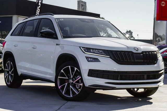 New Skoda Kodiaq NS MY21 132TSI DSG Sportline Seaford, 2020 Skoda Kodiaq NS MY21 132TSI DSG Sportline White 7 Speed Sports Automatic Dual Clutch Wagon