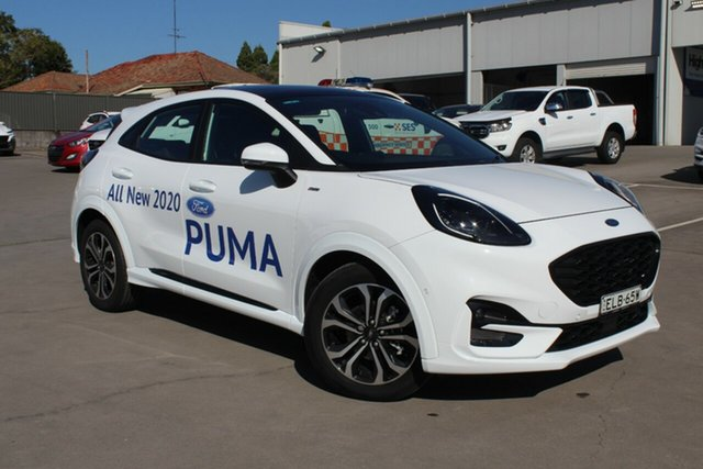 Demo Ford Puma JK 2020.75MY ST-Line Rutherford, 2020 Ford Puma JK 2020.75MY ST-Line Frozen White 7 Speed Sports Automatic Dual Clutch Wagon