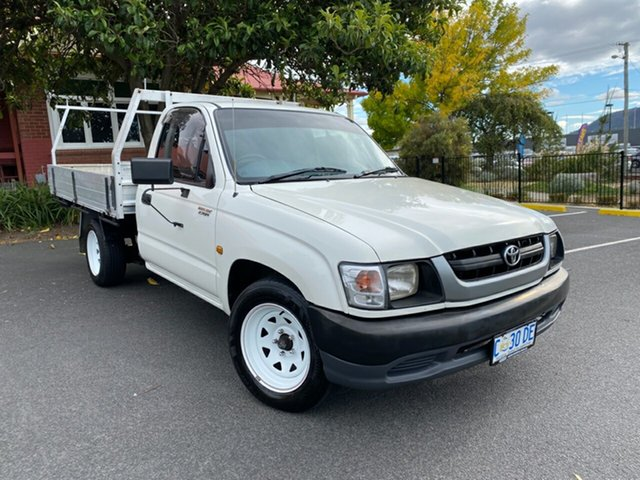 Used Toyota Hilux RZN149R MY02 4x2 Glenorchy, 2002 Toyota Hilux RZN149R MY02 4x2 White 5 Speed Manual Cab Chassis