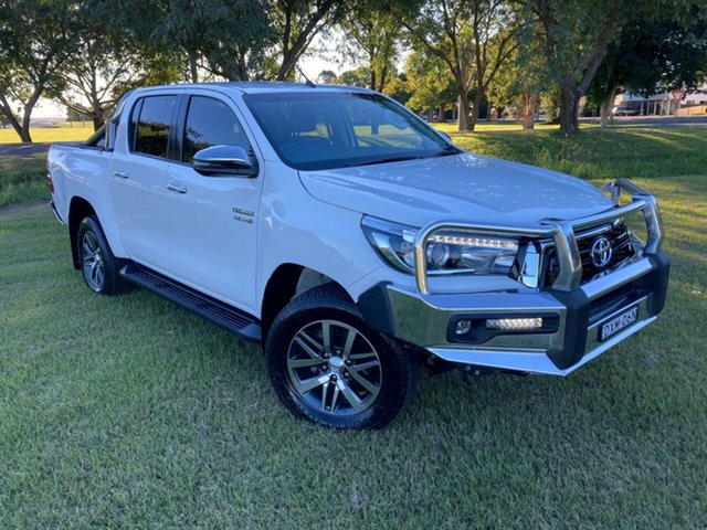 Used Toyota Hilux GUN126R SR5 Double Cab South Grafton, 2018 Toyota Hilux GUN126R SR5 Double Cab Glacier White 6 Speed Manual Utility