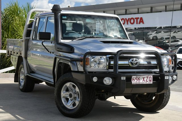Pre-Owned Toyota Landcruiser VDJ79R GXL Double Cab North Lakes, 2018 Toyota Landcruiser VDJ79R GXL Double Cab Silver Pearl 5 Speed Manual Cab Chassis