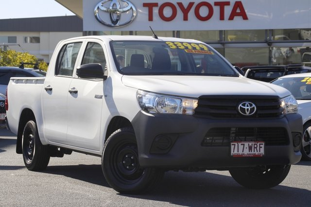 Pre-Owned Toyota Hilux TGN121R Workmate Double Cab 4x2 Upper Mount Gravatt, 2016 Toyota Hilux TGN121R Workmate Double Cab 4x2 White 6 Speed Sports Automatic Utility