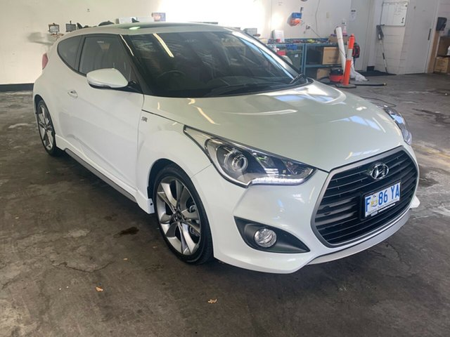 Used Hyundai Veloster FS4 Series II SR Coupe D-CT Turbo + Launceston, 2015 Hyundai Veloster FS4 Series II SR Coupe D-CT Turbo + White 7 Speed Sports Automatic Dual Clutch