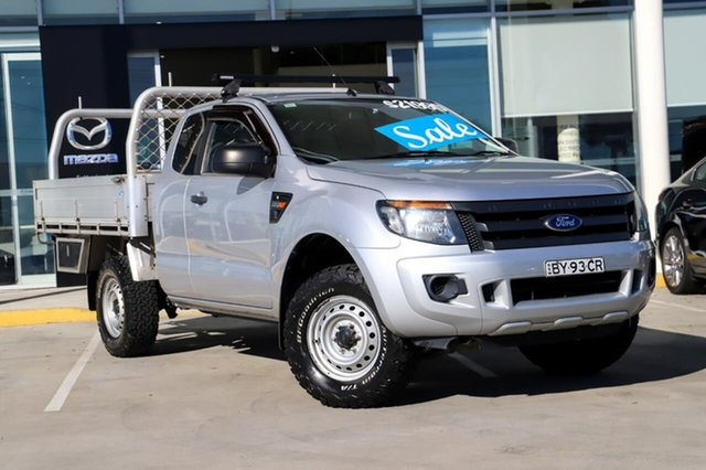 Used Ford Ranger PX XL Hi-Rider Kirrawee, 2013 Ford Ranger PX XL Hi-Rider Silver 6 Speed Sports Automatic Cab Chassis