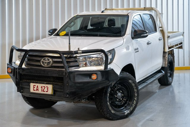 Used Toyota Hilux GUN126R SR Double Cab Hendra, 2017 Toyota Hilux GUN126R SR Double Cab White 6 Speed Manual Cab Chassis