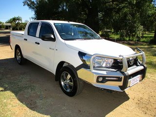 2017 Toyota Hilux GUN122R Workmate Glacier White 5 Speed Manual Dual Cab Utility.