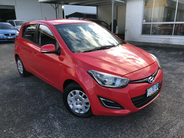 Used Hyundai i20 PB MY12 Active Derwent Park, 2012 Hyundai i20 PB MY12 Active Electric Red 4 Speed Automatic Hatchback