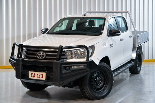 Used Toyota Hilux GUN126R SR Double Cab Hendra, 2016 Toyota Hilux GUN126R SR Double Cab White 6 Speed Sports Automatic Cab Chassis