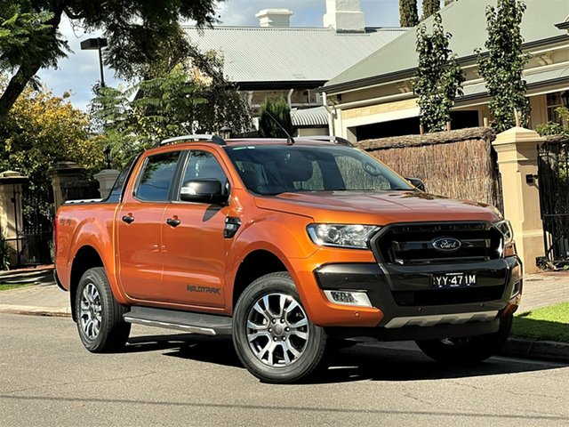 Used Ford Ranger PX MkII Wildtrak Double Cab Hyde Park, 2016 Ford Ranger PX MkII Wildtrak Double Cab Orange 6 Speed Sports Automatic Utility